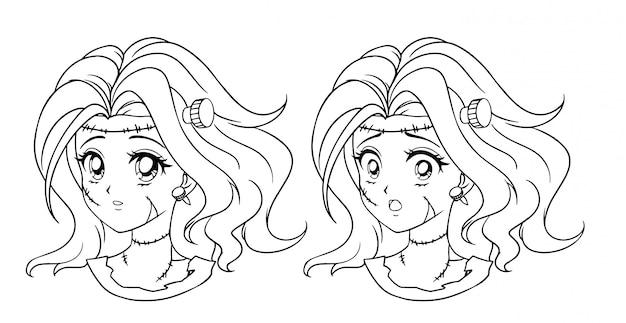 Satz von zwei niedlichen manga-zombie-mädchenporträt. zwei verschiedene ausdrücke. hand gezeichnete vektorkonturillustration des retro-anime-stils der 90er jahre. schwarze strichgrafiken.