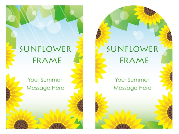 Satz von zwei sonnenblumenrahmen, vektorillustration