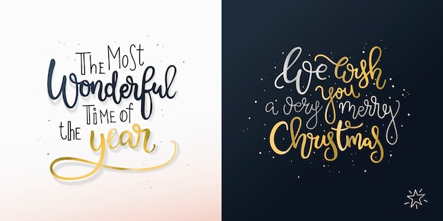 Satz von zwei weihnachtskarten mit freihandgrüßen.