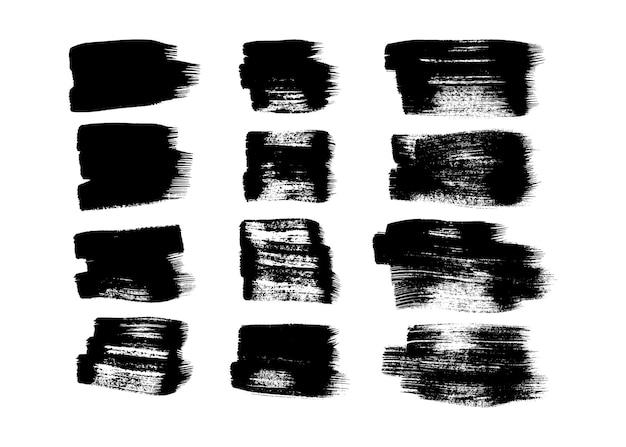 Satz von zwölf schwarzen schmutzbürstenanschlägen. gemalter tintenabstrich. tintenfleck isoliert auf weißem hintergrund. vektor-illustration