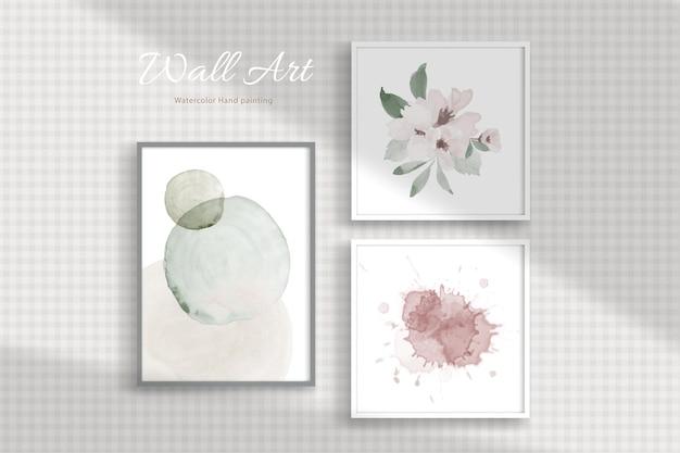 Satz wandbehang bilderrahmen mit minimalem konzept mit aquarell handgemalt an einer wand mit schatten durch.
