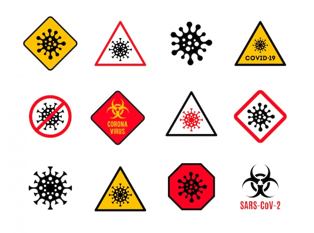 Satz warn- und warnschild mit coronavirus-symbol. stoppen sie das covid-19-schild. coronavirus-schuppenzeichen.