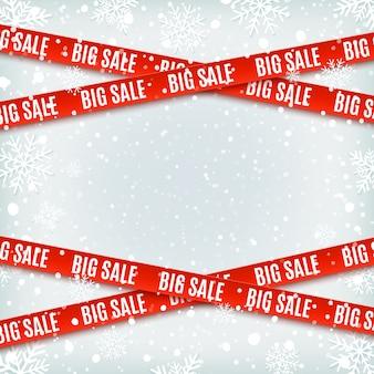 Satz warnbandbänder auf winterhintergrund mit schnee und schneeflocken