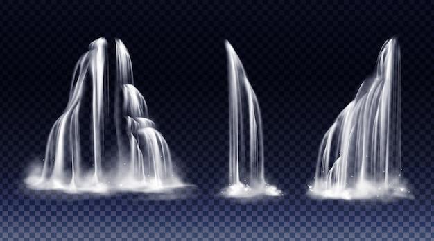 Satz wasserfälle mit kaskade, spritzwasser und nebel