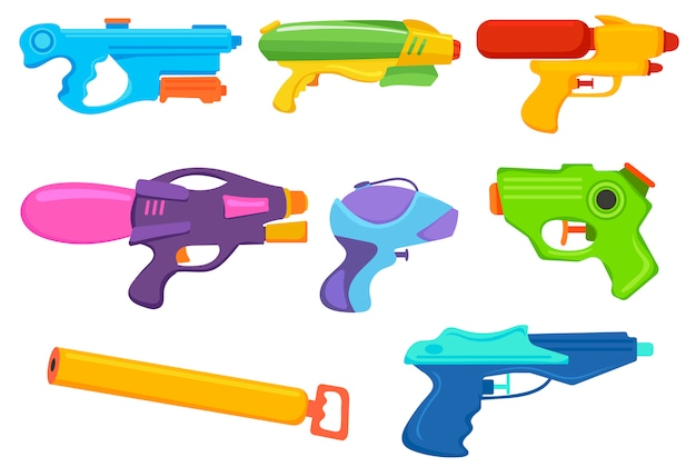 Satz wasserpistolen. sammlung von cartoon-plastikwasserpistole, wildspray usw.