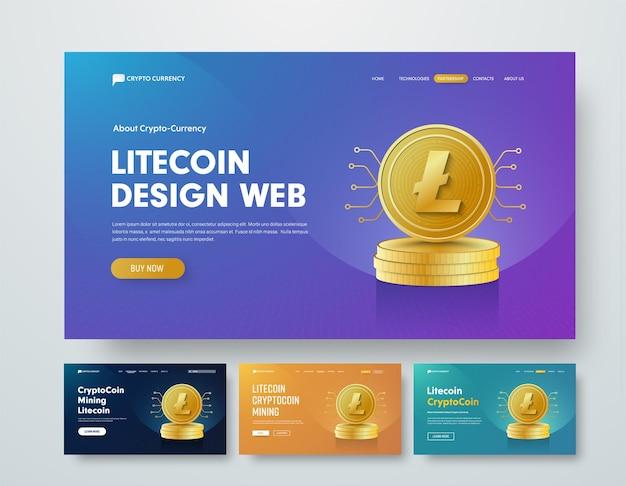Satz web-banner-vorlagen mit goldstapeln von laitcoin-münzen und chips-elementen.