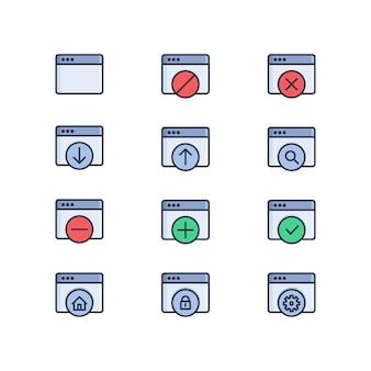 Satz web in verbindung stehende vektor-farbige ikonen. webfenster, hochladen, herunterladen, webeinstellung, web-sicherheit