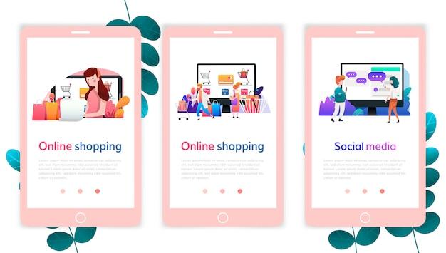 Satz webseitenentwurfsschablonen für das on-line-einkaufen, digitales marketing, social media. moderne vektorillustrationskonzepte für website und bewegliche websiteentwicklung.