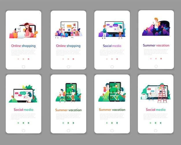 Satz webseitenentwurfsschablonen für das on-line-einkaufen, digitales marketing, social media, sommerferien. moderne vektorillustrationskonzepte für website und bewegliche websiteentwicklung.