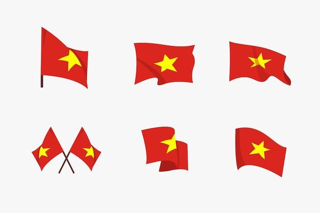 Satz wehende flaggen von vietnam im flachen design