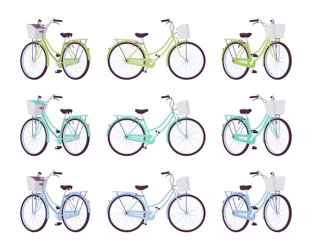 Satz weibliche fahrräder mit korb in den grünen, türkisfarbenen, blauen farben