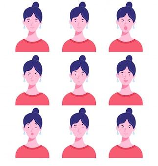 Satz weiblicher avatare mit verschiedenen emotionen.