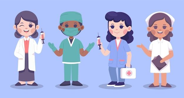 Satz weiblicher charaktere des medizinischen teams