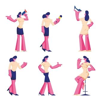 Satz weiblicher charaktere, die formelle kleidung und kleid tragen. karikatur flache illustration