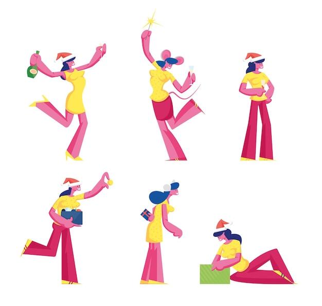 Satz weiblicher charaktere, die neujahr und weihnachten feiern. karikatur flache illustration