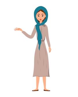 Satz weiblicher charaktere. mädchen zeigt mit der rechten hand zur seite.