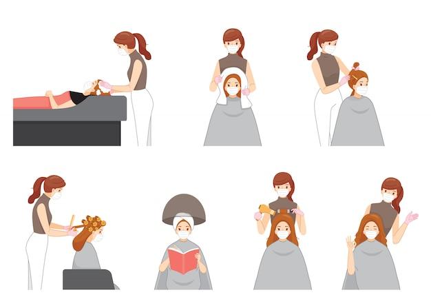 Satz weiblicher friseur, der chirurgische maske trägt, die haar für kunden im friseursalon tut