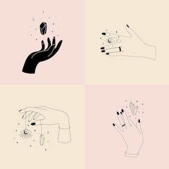 Satz weiblicher hand in einem linearen minimalistischen stil.