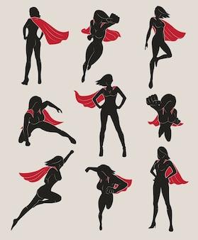 Satz weiblicher superheld