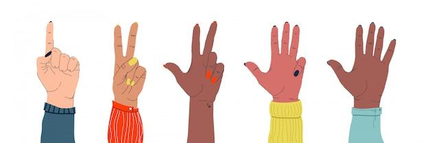 Satz weiblicher zarter hände verschiedener nationalitäten, die verschiedene gesten auf einem isolierten weiß zeigen