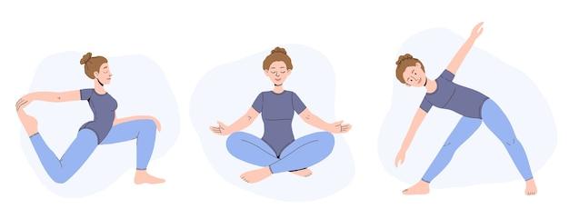 Satz weiblicher zeichentrickfiguren, die verschiedene yoga-posen durch frau demonstrieren.