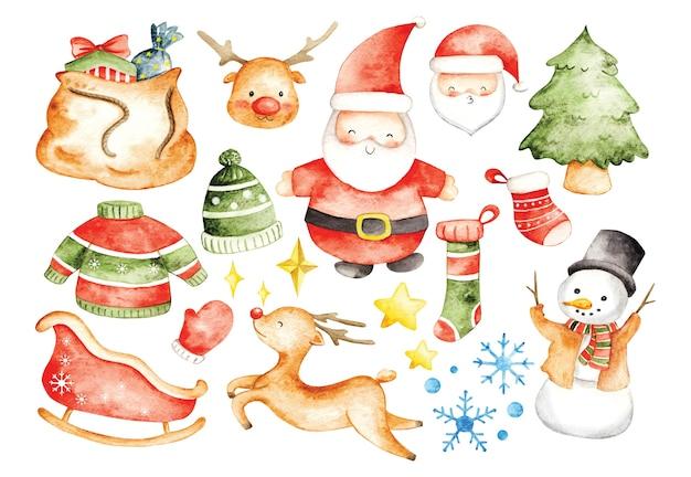 Satz weihnachten in aquarell