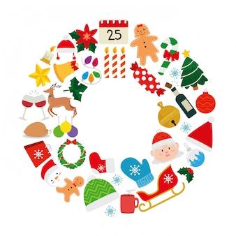 Satz weihnachten mit dekoration und charakteren