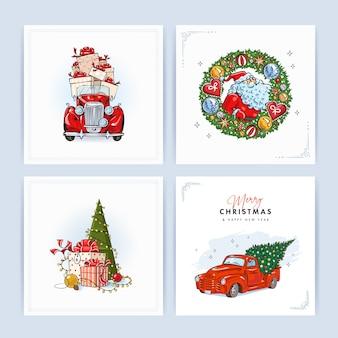 Satz weihnachten und glückliche neue jahreskarten
