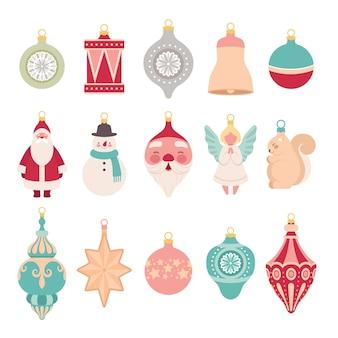 Satz weihnachts-retro-spielzeug zum verzieren des weihnachtsbaumes