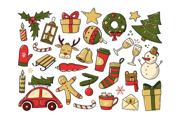 Satz weihnachts- und neujahrsdoodles