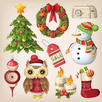 Satz weihnachtsartikel und -charaktere