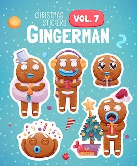 Satz weihnachtsaufkleber mit ausdrucksstarken lebkuchenmannplätzchen.