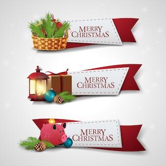 Satz weihnachtsbänder mit karikatur weihnachtsikonen