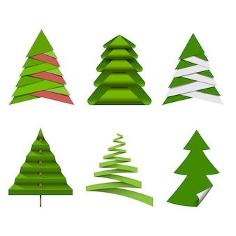 Satz weihnachtsbäume gemacht vom papier