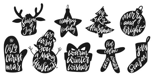 Satz weihnachtsbeschriftungszitate in der silhouette
