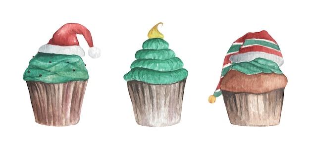 Satz weihnachtscupcake. vintage weihnachtsdekoration. aquarell weihnachten
