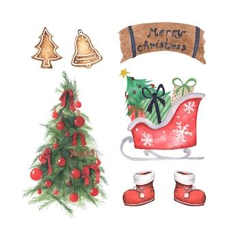 Satz weihnachtsdekorationen. aquarellelemente auf einem weißen hintergrund.