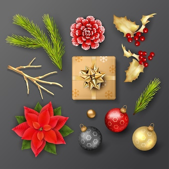 Satz weihnachtsdekorationen