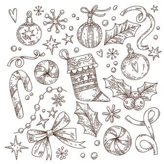 Satz weihnachtselemente dekorieren schneeflockensterne in einem grafischen stil