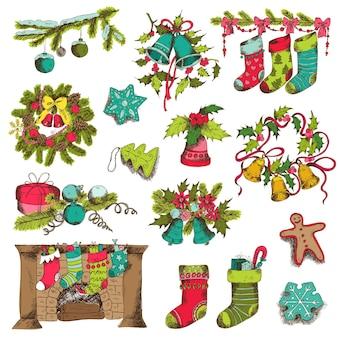 Satz weihnachtselemente für design und sammelalbum