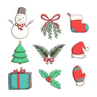 Satz weihnachtselemente mit gekritzel oder handgezeichnetem stil
