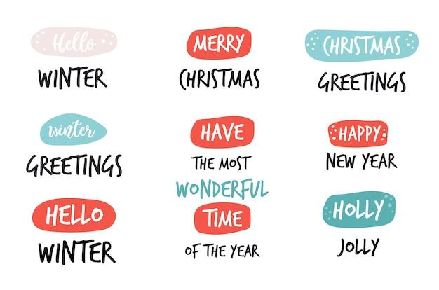 Satz weihnachtsfeiertagsgrußtext mit doodle-ornamenten. design für festliche banner, poster, karten