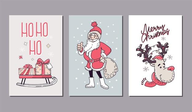 Satz weihnachtsfeiertagskarten mit dekorativen elementen.