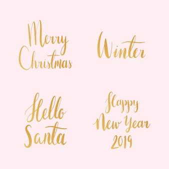 Satz weihnachtsfeiertypographievektoren