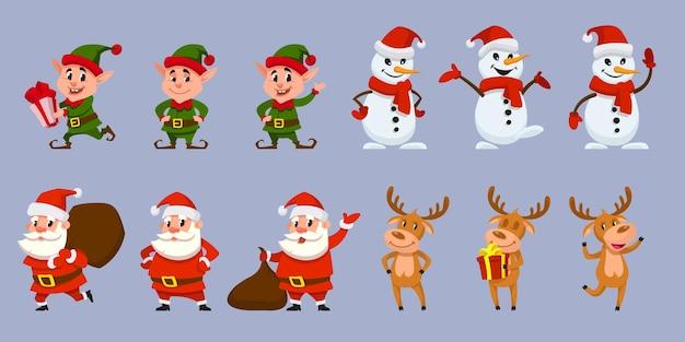 Satz weihnachtsfiguren in verschiedenen posen. weihnachtsmann, elf, rentier und schneemann im cartoon-stil.