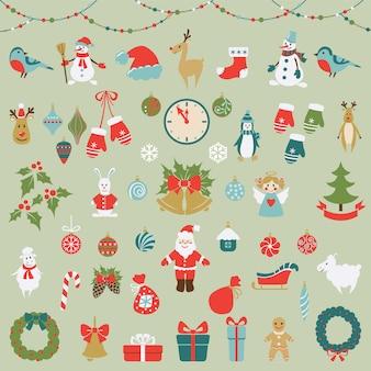 Satz weihnachtsflache grafische elemente