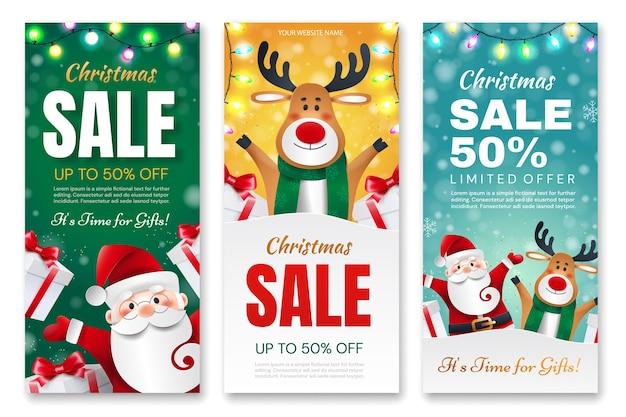 Satz weihnachtsflyer. santa claus and deer mit geschenken kündigt urlaubsrabatte an.