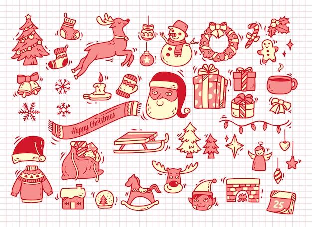 Satz weihnachtsgekritzel auf papierhintergrund