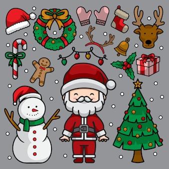 Satz weihnachtsgekritzelillustration