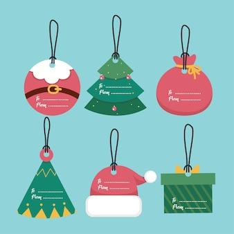 Satz weihnachtsgeschenkanhänger